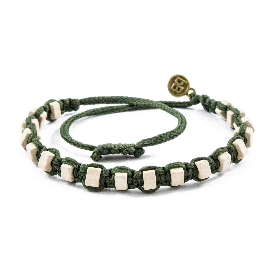 White Andes Military Green macrame artisan bracelets cover