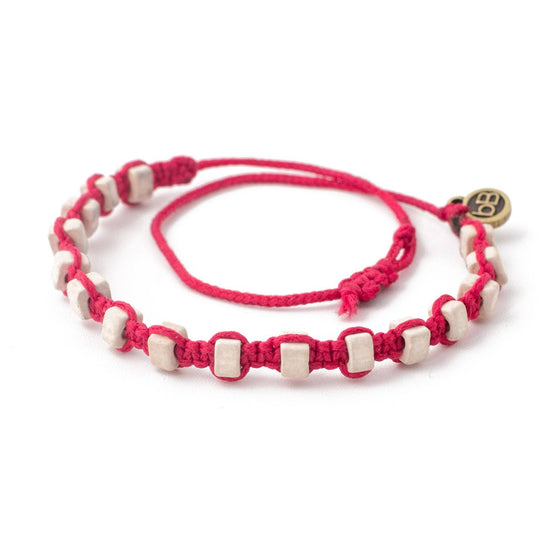White Andes Strawberry Pink macrame artisan bracelets cover