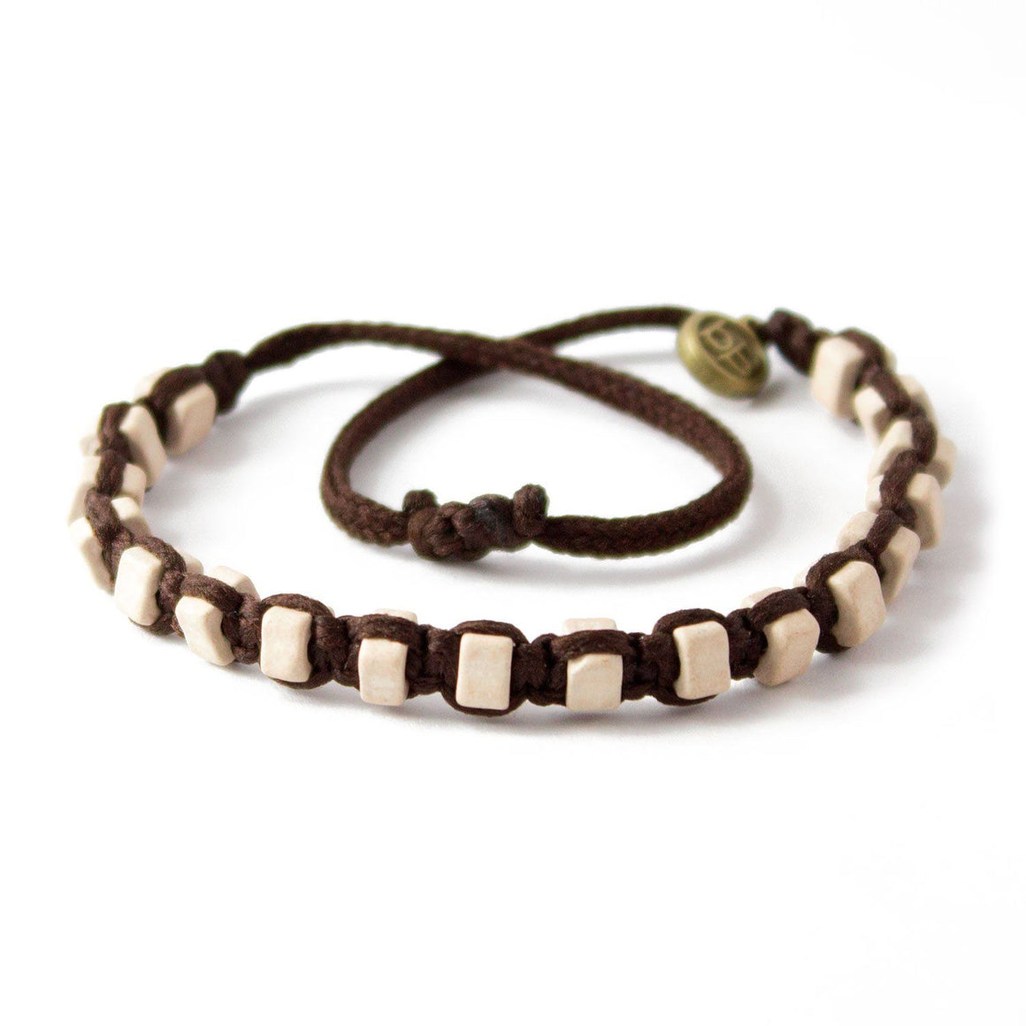 White Andes Chocolate Brown macrame artisan bracelets cover