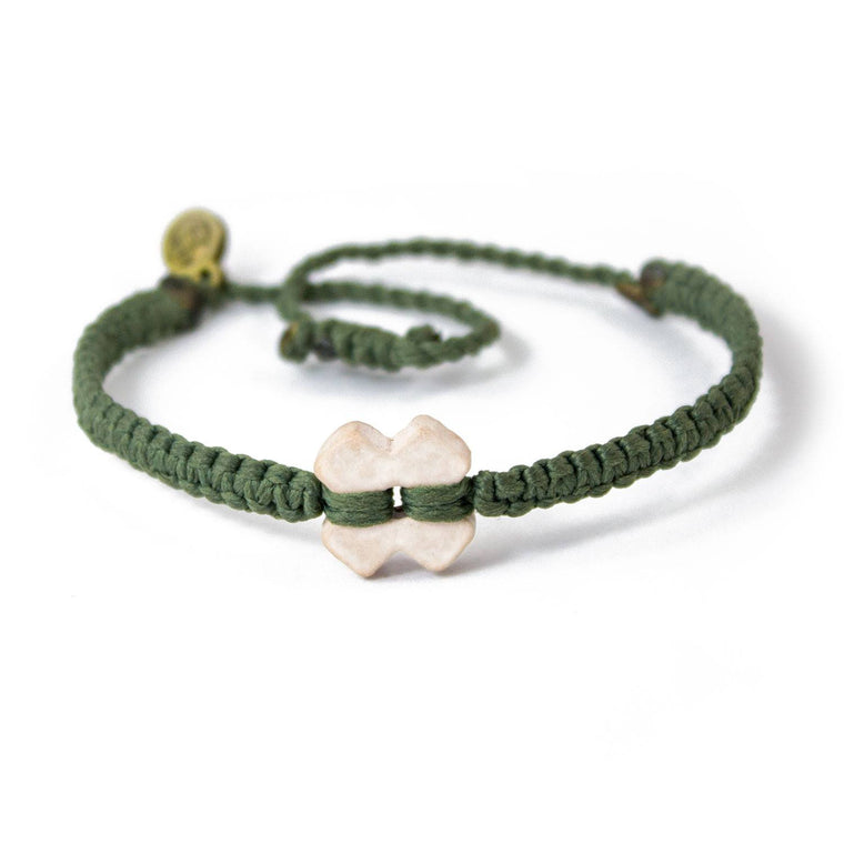White Tinkus Olive Green donation bracelets cover