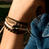 Black Wayta Urban Khaki fair trade bracelets on wrist