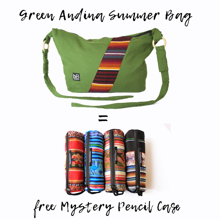 Green Andina Summer bag + Mystery Pencil Case