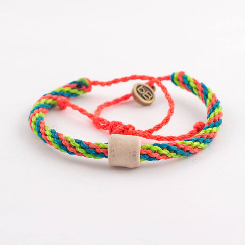 beyondBeanie white inca deep watermelon, colorful bracelets, beach bracelets, bracelets that give back