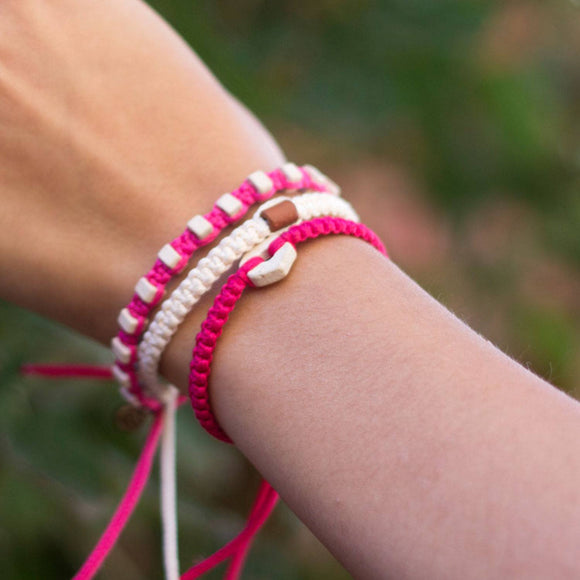 White Rustic Candy Pink handmade ethnic bracelets cover