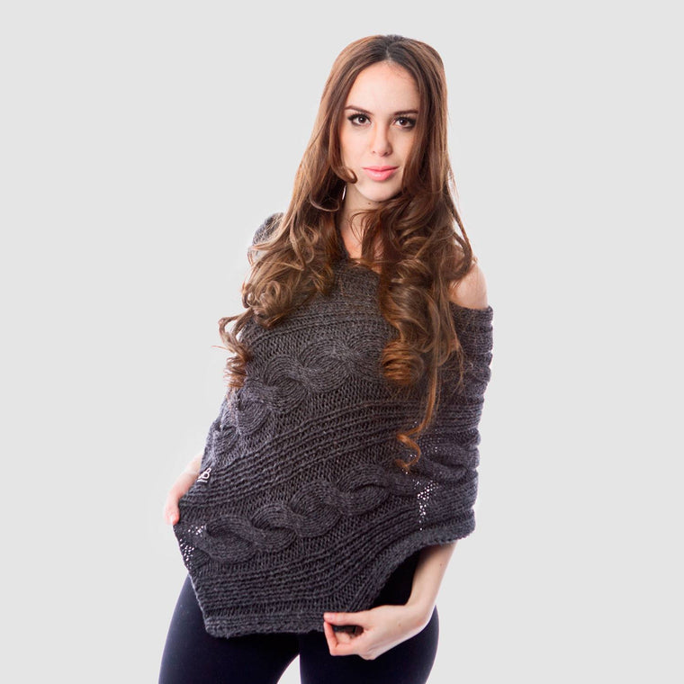 beyondBeanie bB grey illimani poncho, handcrafted poncho, social good products