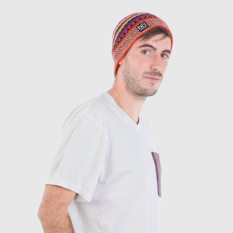 beyondBeanie bB orange rainbow, knitted beanie, beanie for men