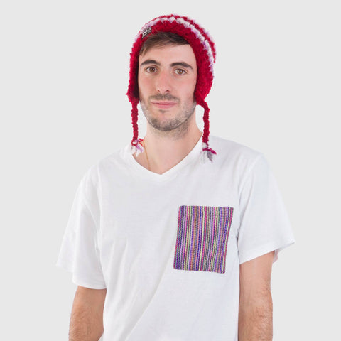 beyondBeanie bB red chullo, artisanal beanie, beanie for men, beanie for a cause