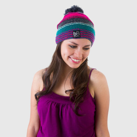 beyondBeanie bB ethnic pink rad surfer, fashion for good, social good products, colored beanie