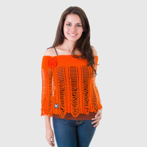 beyondBeanie bB orange ichoa, knitted poncho, fashion poncho