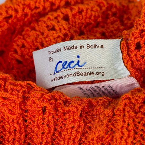 beyondBeanie bB orange summer inti, fashion for a cause, hand-signed beanie