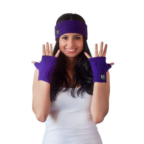 beyondBeanie bB purple spring time gloves, trendy gloves, charity gloves