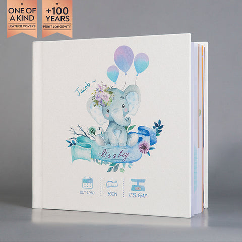 SIF004 Elephant Shiny Snow White Leather Baby Photo Album