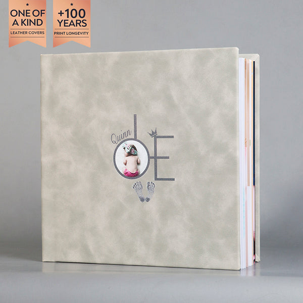 SIF008  Footprint Granite Haze Leather Baby Photo Album