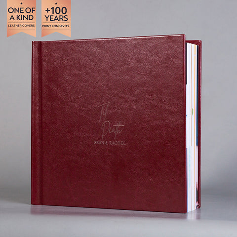 SIF002 'Til Death Burgundy Leather Flush Mount Wedding Photo Album