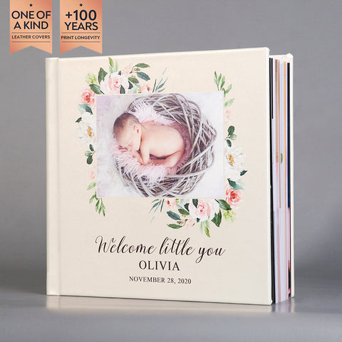 SIF006 Welcome Little You Floral Pearl White Leather Baby Photo Album