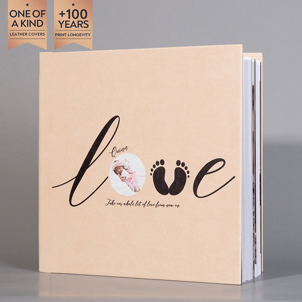 SIF017 LOVE & Footprint Beige Leather Baby Photo Album