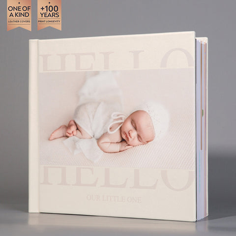 SIF030 Hello Our Little One Pearl White Baby Photo Album