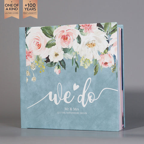 SIF037 We Do Blush and White Floral Wedding Photo Album