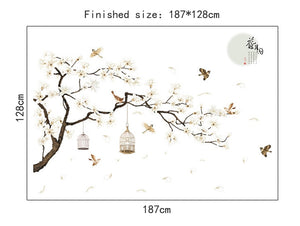 New Modern Style Tree Birds Flower Wall Stickers Home Wallpapers for Living Room Bedroom Decoration