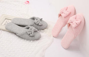 Autumn/Winter Lovely Bowtie Ladies Warm Soft Bottom Cotton Slipper