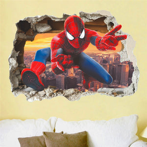 Hero Spiderman 3D Effect Wall Stickers for Kids Room