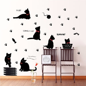Modern Cute Cartoon Animal Black Cat Wall Sticker