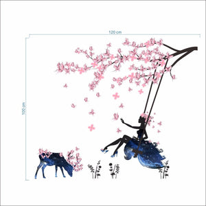 Pink Romantic Flower Fairy Swing Decoration Wall Stickers