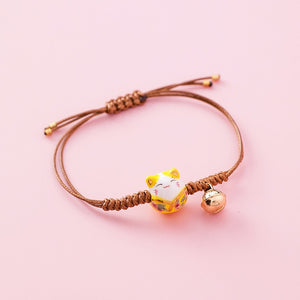 Japanese Style Kawaii Lucky Ceramic Cat Charm Rope Bracelets