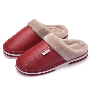 Winter Classic Adult Fur Leather Warm Soft Comfort Nonslip Home Slippers
