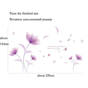 Lovely Romantic Purple flowers Wall Sticker