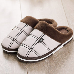 Winter Men Cozy Velvet Warm Comfort Waterproof Fur Non-Slip Slippers