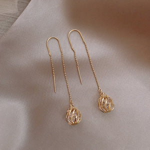 Korean Long Tassels Metal Hollow Ball Design Fine Gold Crystal Drop Earrings