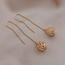 Load image into Gallery viewer, Korean Long Tassels Metal Hollow Ball Design Fine Gold Crystal Drop Earrings