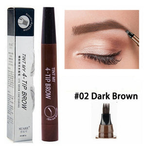 Natural Cosmetic Long Lasting Waterproof  4 Fork Tip Eyebrow Tattoo Pencil