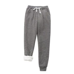 Winter Ladies Warm Lambskin Cashmere Casual Sweat Pants & Tops