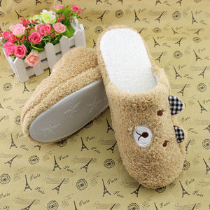 Woman Lovely Bear Winter Soft Cotton Comfortable Home Slippers