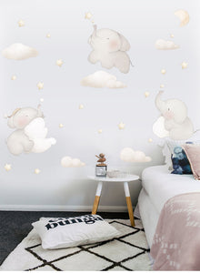 Nordic Style Lovely Elephant Animal Cloud Wall Stickers