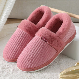 Winter Couple Warm Furry Short Plush Soft Comfortable Slip-on Indoor Shoes