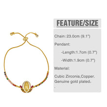 Load image into Gallery viewer, Elegant Multicolor Virgin Mary Pendant Gold Christian Crystal Bracelets