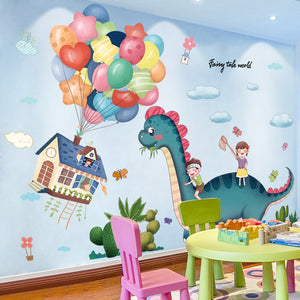 Lovely Cartoon Dinosaurs Animals  Balloons Tree for Kids Room
