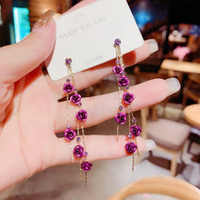 Load image into Gallery viewer, 2020 Korean New Fashion Long Tassel Rose Flower Pendant Earrings