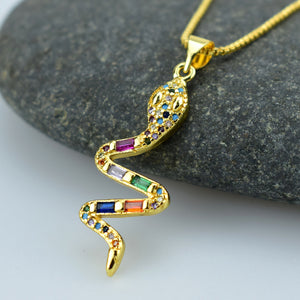 Elegant Lucky Necklace Animal Snake Dangle Rainbow Zircon Pendant Necklace