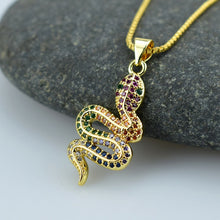 Load image into Gallery viewer, Elegant Lucky Necklace Animal Snake Dangle Rainbow Zircon Pendant Necklace
