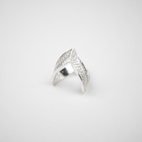 Sterling Silver Pointed Filigree Ring