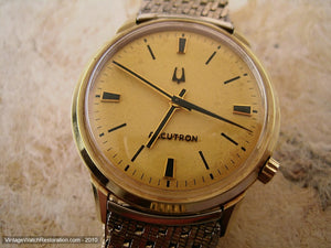 Stunning Gold Dial Accutron with Black Markers and Kreisler Bracelet, Electric, Large 34.5mm