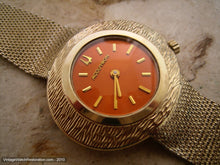 Load image into Gallery viewer, Bold Orange Retro Ladies Acctron with Gold Mesh Bracelet, Electric, 36x32mm