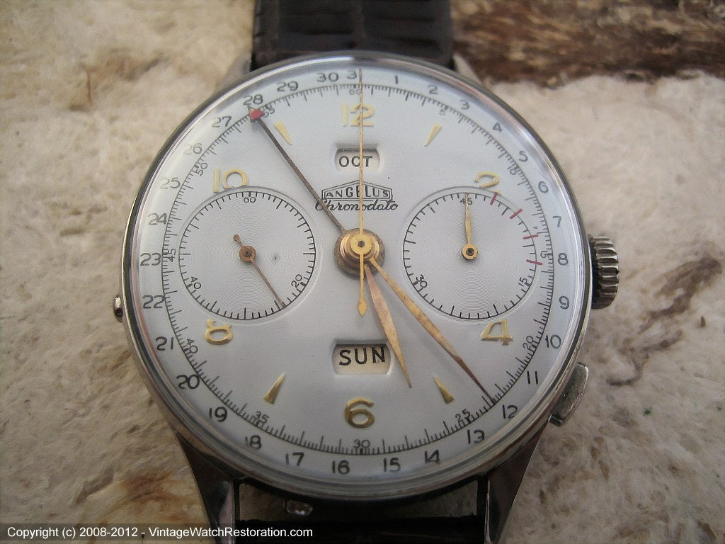 Rare Angelus Chronodato Day-Date-Month, Manual, Huge 38m