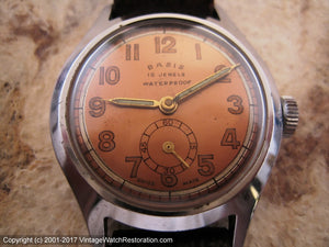 WWII Era Basis with Original Copper Dial, Manual, 31mm