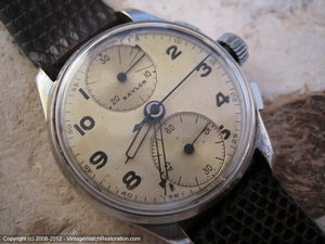 Wonderful Baylor (Heuer) Chronograph with Yellow Patina Dial , Manual, Large 34mm