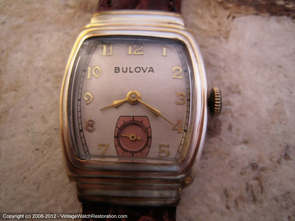 Bulova Two Tone Deco Case, Manual, 25x35.5mm